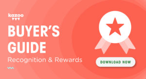 Kazoo's employee recognition and rewards buyers guide download button -- red with ribbon icon