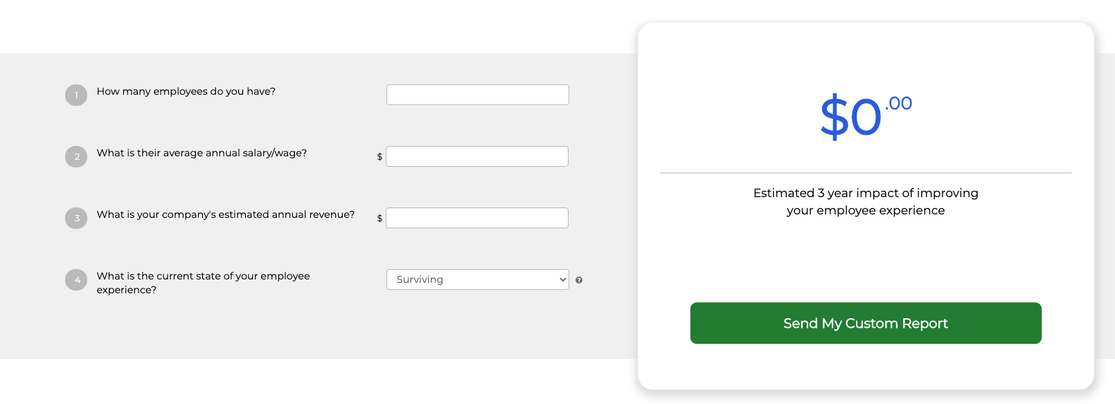 employee experience impact roi calculator entry fields