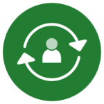 Icon for talent retention, one of the challenges of the hybrid workplace -- white person icon inside white arrows in green circle