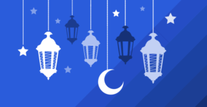 feat image for Ramadan in the workplace blog -- lanterns against a blue background