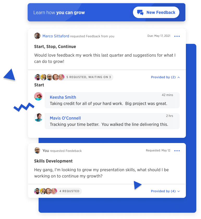 Kazoo for up-leveling managers -- turning good managers into great managers -- an image of an employee sending a request for feedback from their manager